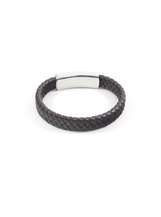 Мужской браслет из плетеной коричневой кожи с большой магнитной застежкой