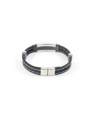 Мужской браслет из синтетического черного материала с часовой застежкой