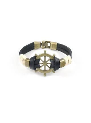 Мужской кожаный черный браслет со штурвалом