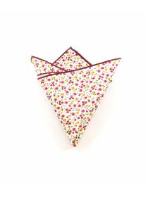 Нагрудный платок белый с разноцветными бордовыми цветочками