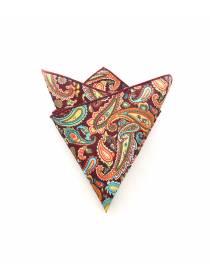 Нагрудный платок бордовый с разноцветными пейсли