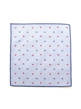 Нагрудный платок голубой с красными и синими рыбками