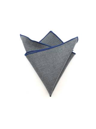 Нагрудный платок серый с синей окантовкой