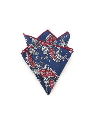 Нагрудный платок синий с красными пейсли (огурцами)