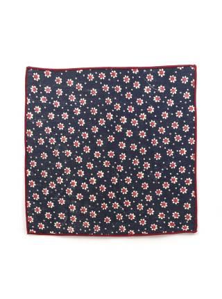 Нагрудный платок синий в бело-красный цветочек