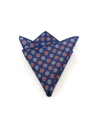 Нагрудный платок темно-синий с синими и красными цветочками