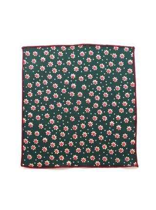 Нагрудный платок зеленый в бело-красный цветочек