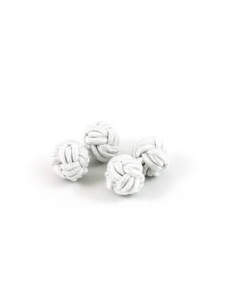 Текстильные запонки-узелки белые