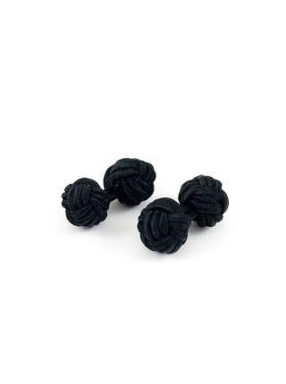 Текстильные запонки-узелки черные