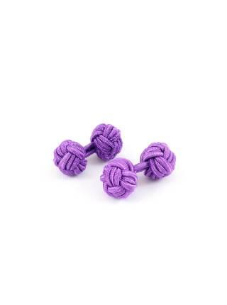 Текстильные запонки-узелки фиолетовые