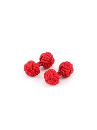 Текстильные запонки-узелки красные