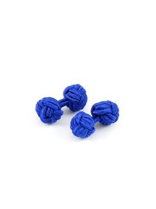 Текстильные запонки-узелки синие