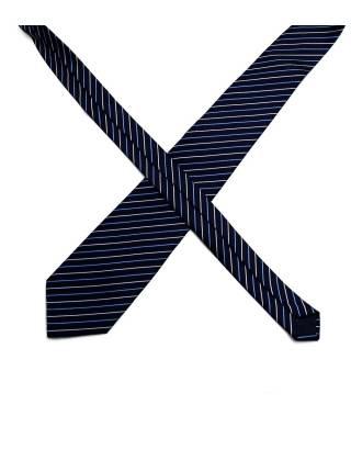 Темно-синий галстук в бело-голубую полоску