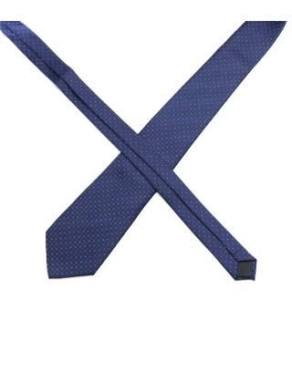 Темно-синий галстук в клетку и мелкий разноцветный горох