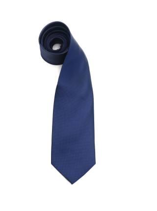 Темно-синий галстук в мелкую клетку однотонный