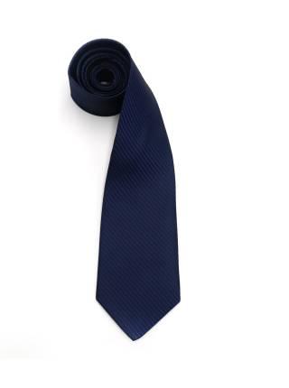 Темно-синий галстук в полоску из микрофибры