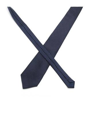Темно-синий галстук в ромб с белой рябью