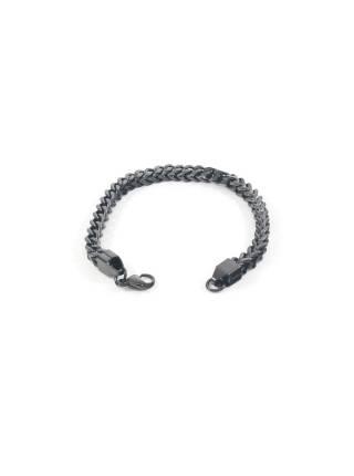 Цепочка на руку якорного плетение из звеньев квадратной формы (черный)