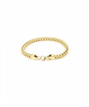 Цепочка на руку якорного плетение из звеньев квадратной формы (золото)