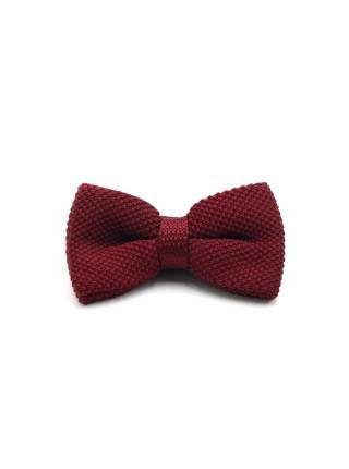 Вязаная галстук-бабочка бордового цвета однотонная