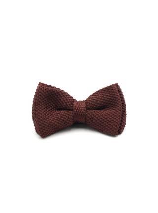 Вязаная галстук-бабочка коричневого цвета однотонная