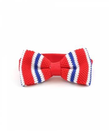 Вязаный галстук-бабочка красная в бело-синюю полоску