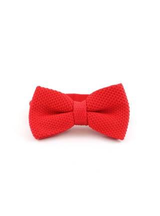 Вязаный галстук-бабочка красный однотонный