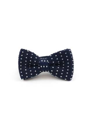 Вязаный галстук-бабочка темно-синяя в белый горох