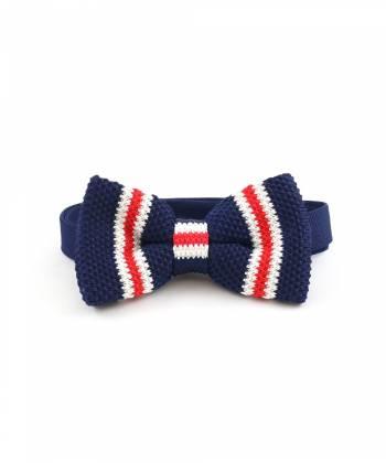 Вязаный галстук-бабочка темно-синяя в красно-белую полоску
