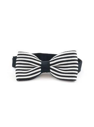 Вязаный галстук-бабочка в черно-белую полоску