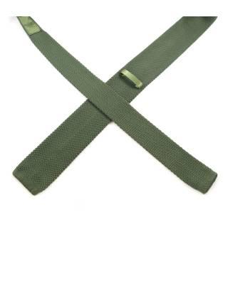Вязаный галстук болотного цвета однотонный