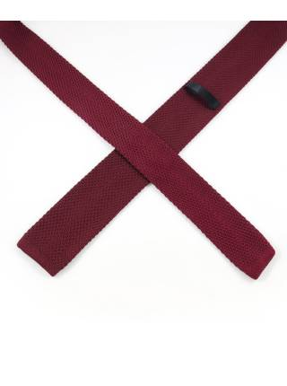 Вязаный галстук бордового цвета однотонный