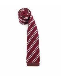 Вязаный галстук бордового цвета в белую полоску