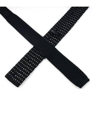 Вязаный галстук черного цвета в белый горошек