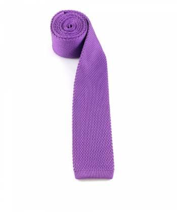 Вязаный галстук фиолетового цвета однотонный