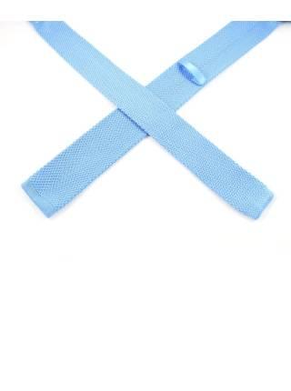 Вязаный галстук голубого цвета однотонный