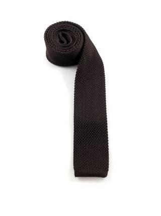 Вязаный галстук коричневый однотонный