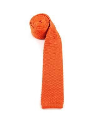 Вязаный галстук оранжевого цвета однотонный