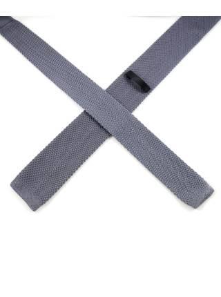 Вязаный галстук серого цвета однотонный