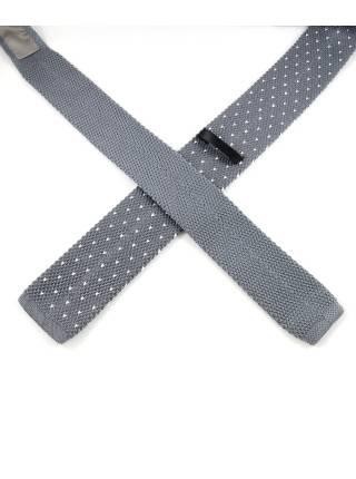 Вязаный галстук серого цвета в белый горошек