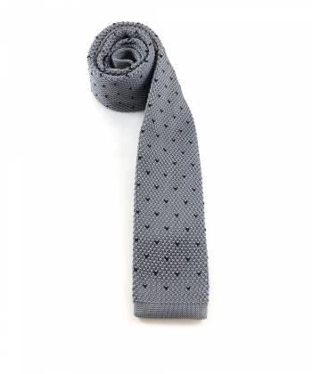 Вязаный галстук серого цвета в черный горошек