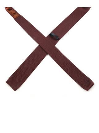 Вязаный галстук шоколадного цвета однотонный