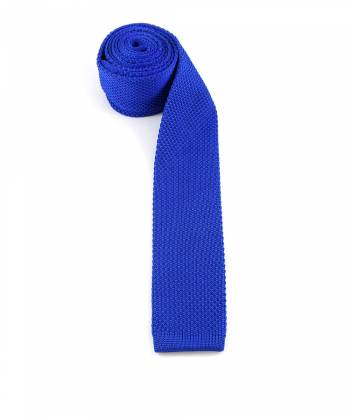 Вязаный галстук синего цвета однотонный