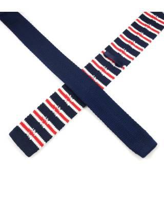 Вязаный галстук синего цвета в бело-красную полоску