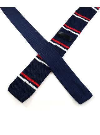 Вязаный галстук синего цвета в красную и белую полоску
