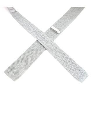 Вязаный галстук светло-серого цвета однотонный