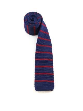 Вязаный галстук темно-синего цвета в красную полоску
