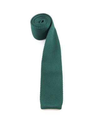 Вязаный галстук темно-зеленого цвета однотонный