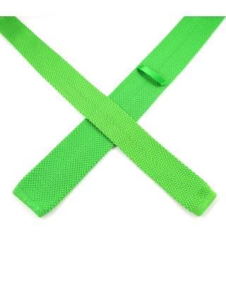 Вязаный галстук зеленого цвета однотонный