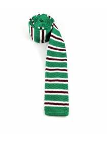 Вязаный галстук зеленого цвета в бело-бордовую полоску